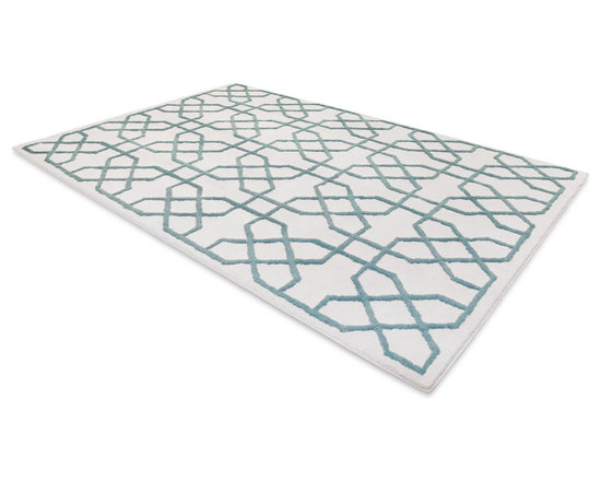 Bombay Rug in Teal Mendocino - This low pile nylon rug is made locally in California.