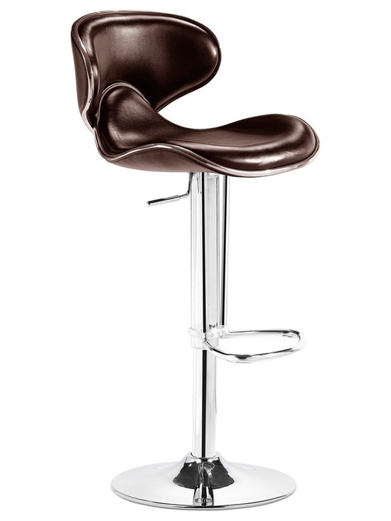 "Zuo - Zuo Fly Brown Adjustable Modern Bar Stool or Counter Stool - This may be the most comfortable adjustable bar stool ever. With a high back and plush seat covered in espresso brown leatherette and a glistening chrome base it may also be one of the most stylish. Bar stools with hydraulic lift allows the seat to be raised and lowered to fit your bar or dining counter. Chrome plated foot rest and steel base. From the Zuo Modern collection. Espresso brown leatherette seat. Chromed steel base. Hydraulic piston. Height adjusts from 32"" to 41"". 15"" wide. 18"" deep. Seat height adjusts from 21"" to 30"".  Modern armless bar stool or counter stool.  Espresso brown leatherette seat.  Chromed steel base.  Hydraulic piston.  Height adjusts from 32"" to 41"".  15"" wide.  18"" deep.  Seat height adjusts from 21"" to 30"".  Please note - holds up to 250 lbs."