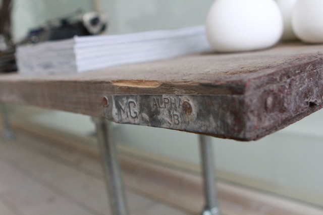 Industrial reclaimed scaffolding plank and steel pipe bespoke furniture/fittings - Contemporary ...