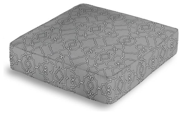 Floor Box Pillows : Pale Gray Scroll Trellis Box Floor Pillow - Contemporary - Floor Pillows And Poufs - by Loom Decor