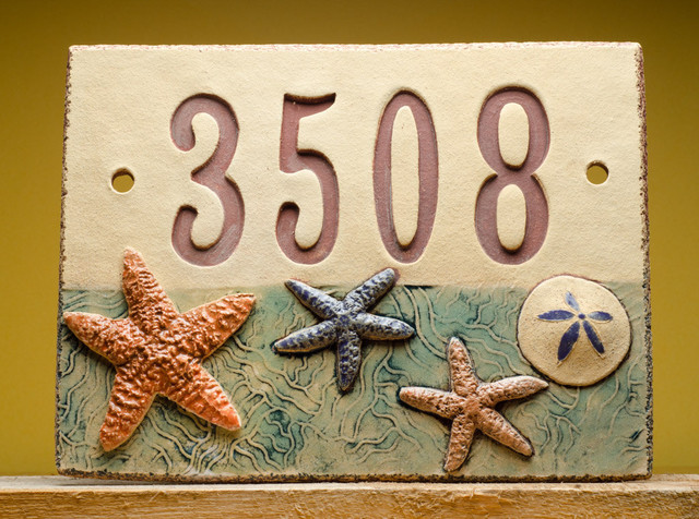 Handmade Ceramic House Number Sign Beach By Fine Clay Art Beach Style House Numbers By Etsy