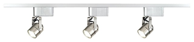 Contemporary LED or Halogen Pro Track Brushed Steel Low Voltage Track Kit contemporary-track-lighting-kits