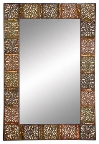 Embossed Metal Frame Wall Mirror modern-accessories-and-decor