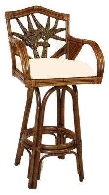 Hospitality Rattan Cancun Palm Indoor Swivel Rattan & Wicker 24 in. Counter modern-bar-stools-and-counter-stools