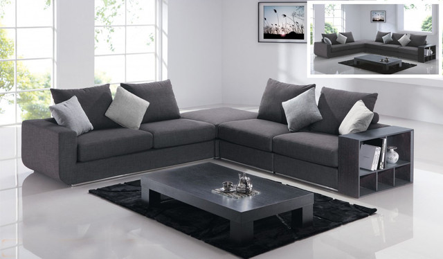 Comfortable linen like sectional in grey with add on for Comfortable contemporary sectional sofa