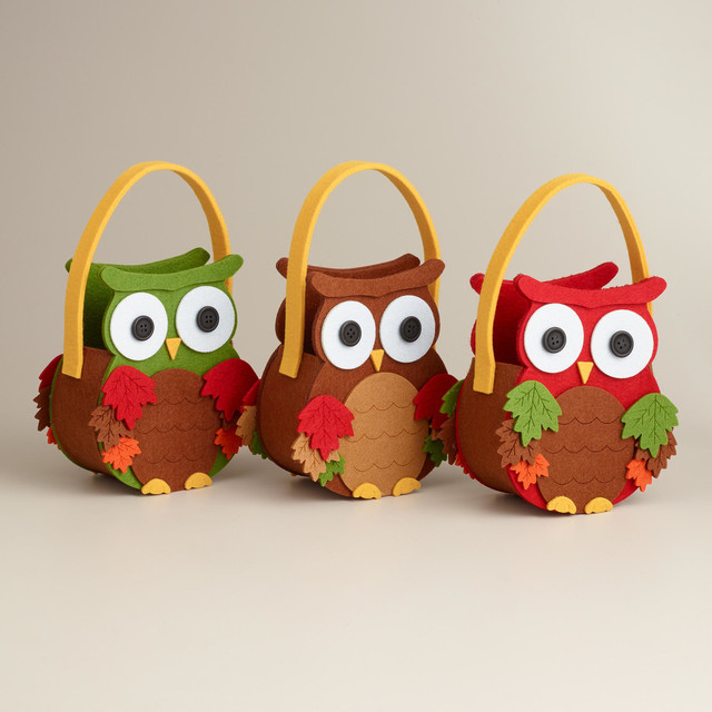 Owl Harvest Felt Containers Contemporary Holiday