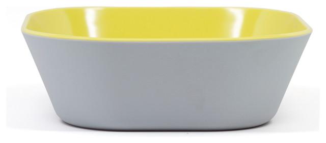 "6.5"" Square Bowl Urban Block - Two-Tone Platinum/Citrus Green contemporary-serving-and-salad-bowls"
