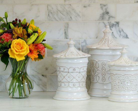 Trish Namm - Beautiful Juliska canisters against a backdrop of Calacatta Gold Marble backsplash...