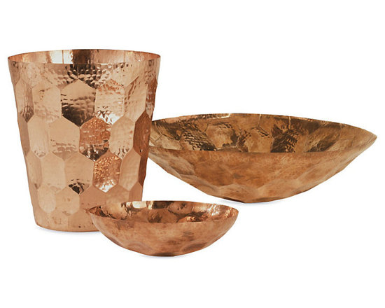 Hex Collection - These bowls and champagne bucket are great for entertaining. When they aren't being used for a party, filling the bowls with moss spheres or wooden balls is an easy way to keep them on display all the time.