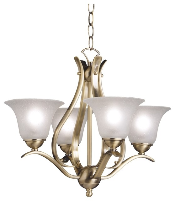 Transitional Antique Brass Four Light Chandelier traditional chandeliers