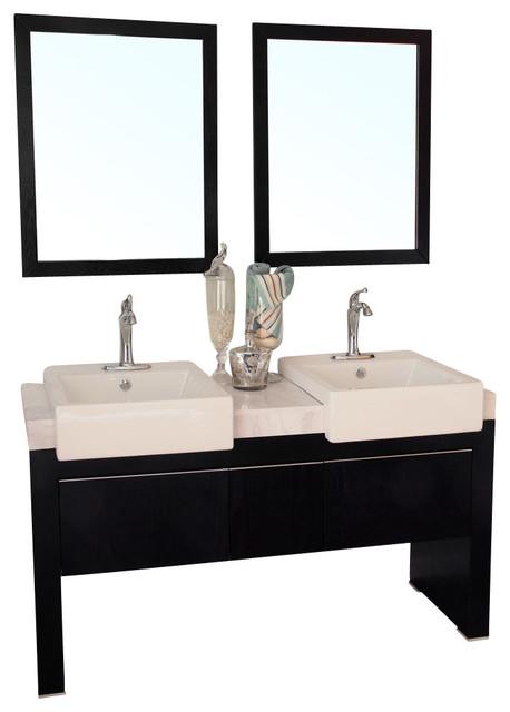 Inch Double Sink Vanity Wood Black Modern Bathroom Vanities And Sink Consoles By