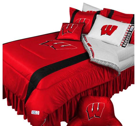 Ncaa Wisconsin Badgers Comforter Pillowcase College Bedding Queen Contemporary Kids Bedding