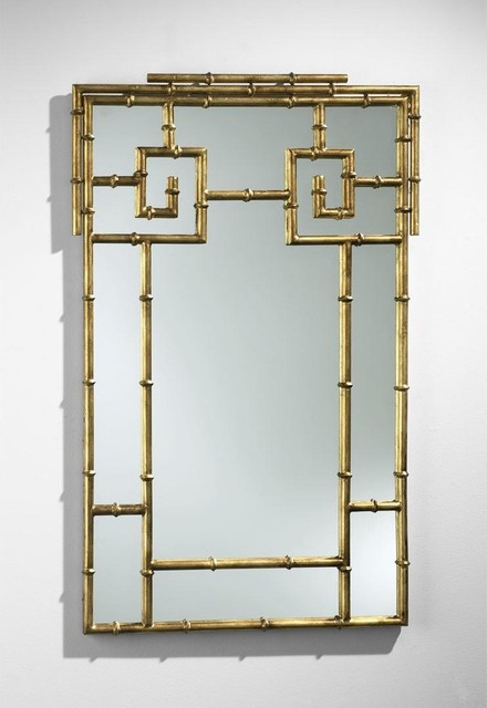 Cyan Bamboo Mirror asian-mirrors