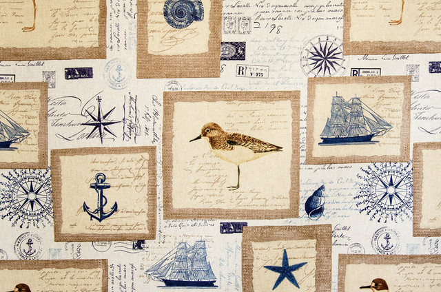 Nautical Fabric Ship StarFish Vintage French Letters beach-style-fabric