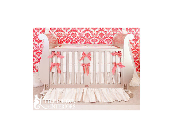 Little Crown Interiors - Ivory and Coral Silk Crib Bedding - Ivory and Coral Silk Crib Bedding