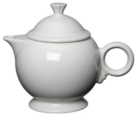 Fiesta White Covered Teapot 44 oz. traditional-serving-utensils