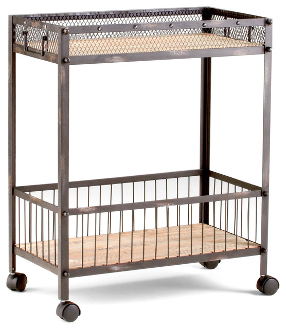 Wood And Metal Industrial Kitchen Cart: Industrial Loft Raw Steel Reclaimed Wood Iron Serving Bar