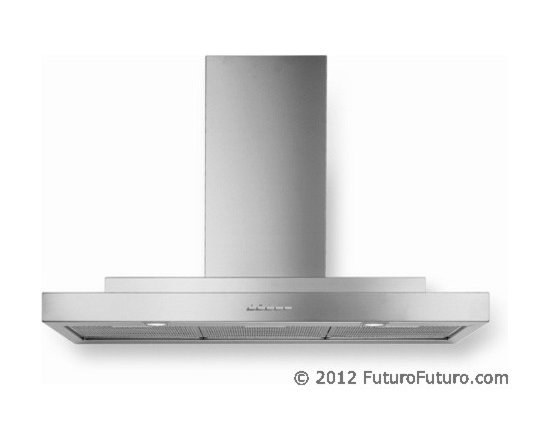 """Designer Range Hoods - """"Mithos"""" Series - The sleek shape and clean lines of the """"Mithos"""" designer range hood from Futuro Futuro make it an ideal complement to any modern or transitional kitchen. A creative 2-level design evokes the shapes of classical architecture. Made in Italy from highest-grade AISI 304 stainless steel, and equipped with a powerful 940-CFM blower as well as advanced electronic controls. Visit website for complete product information, latest pricing, and online ordering."""