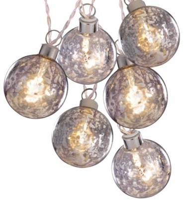 Clear Battery-Operated Silver Glass Ball String Lights, White Wire - Contemporary - Holiday ...