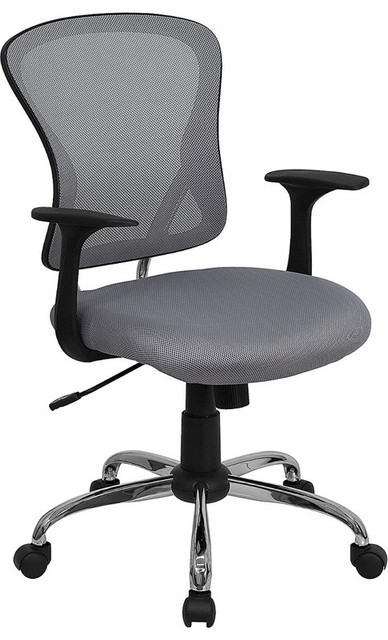 Mid-back Gray Mesh Office Chair with Chrome Finished Base contemporary-office-chairs