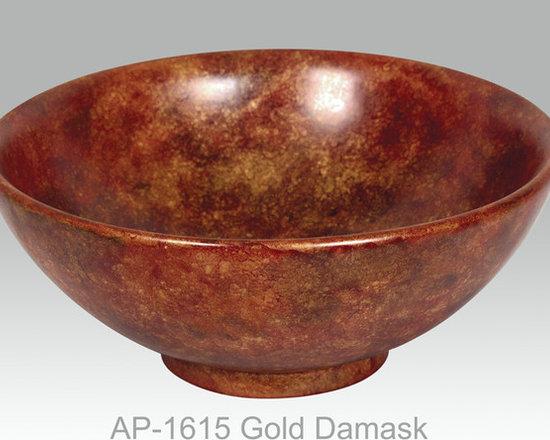 "Hand Painted Vessels Sinks by Atlantis - ""GOLD DAMASK"" Shown on AP-1615 La Fayette vessel sink O/D 15-3/4"" Dia x 6"" H center drain no overflow."