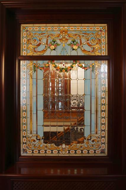 Interior Tiffany Style stained glass deco mediterranean windows