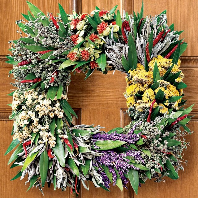 Square Mixed-Herb Wreath modern-wreaths-and-garlands