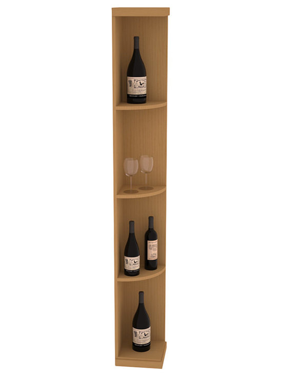 Quarter Round Wine Display in Pine with Oak Stain - Highly decorative Quarter Round Wine Displays are the perfect solution to racking around corners. Designed with a priority on functionality, these wine storage units are excellent as end caps to walls of wine racking or as standalone shelving.