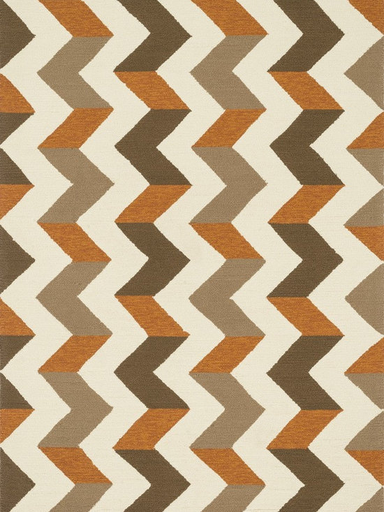 """Loloi Rugs - Loloi Rugs Palm Springs Collection - Brown / Orange, 3'-6"""" x 5'-6"""" - For the first time ever, world renowned designer Dann Foley brings his eye for great design and modern living to outdoorrugs. With patterns and colors as dynamic as Dann's persona, the Palm Springs Collection reflects Dann's passion forfun outdoor decorating. Palm Springs is hand hooked in China of 100% polypropylene that's specially treated to befade-resistant in spite of regular sunshine or rain."""