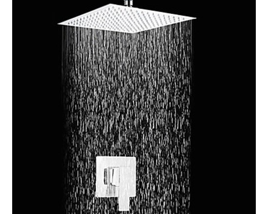 Shower Faucets - 12 Inch Contemporary Chrome Finish Square Slim Design Shower Faucet-- FaucetSuperDeal.com
