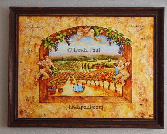"""artist Linda Paul - original artwork - Painting California Wine Country Vineyard - Angels in the Vines Original Art Painting by artist Linda Paul . Framed Size 44"""" x 34"""".  Free shipping in USA and to Canada"""