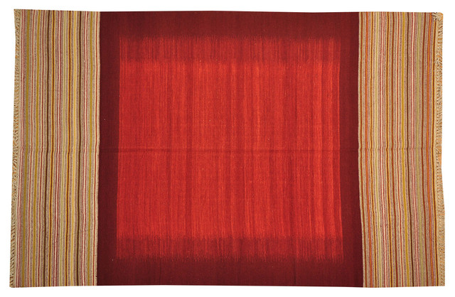 Red Durie Kilim 100% Wool Flat Weave Hand Woven Reversible Rug Sh15729 traditional-rugs