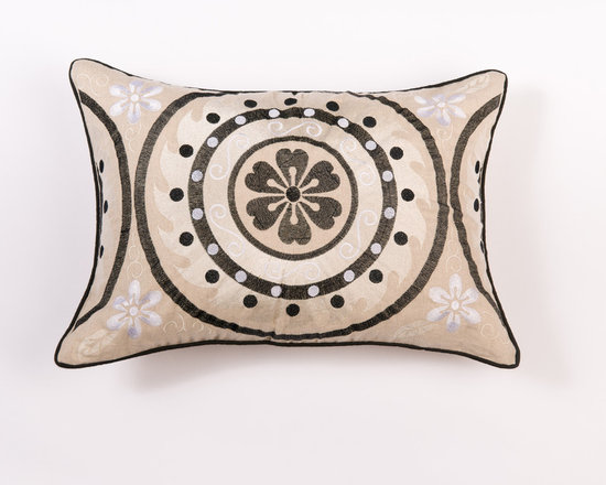 "Pillows - Add flair with beautiful suzani pattern pillow,the coordinating welt adds charm to the 14""x20"" pillow."