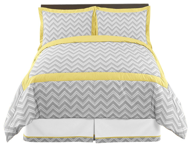 Zig Zag Yellow And Gray 4-Piece Twin Bedding Set By Sweet
