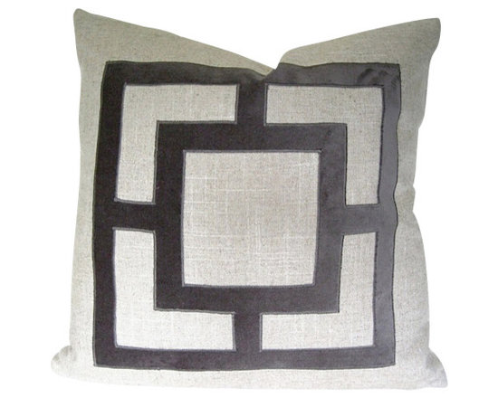 Therese Marie Designs - Gray Velvet Applique Pillow Cover - Gray geometric pillow cover with velvet applique. Natural off-white linen serves as the backdrop to this geometric cut-out in smoky taupe velvet. The square shape is hand-cut and satin stitched in place. *For 20-inch square insert.