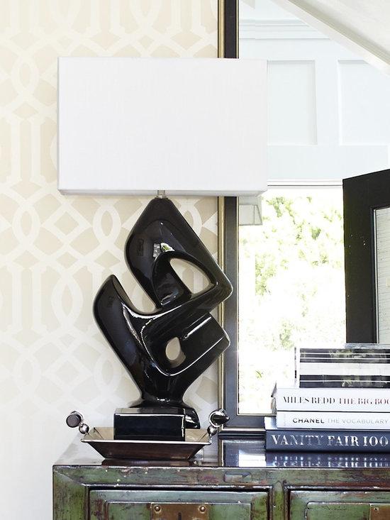 Black Ceramic Lamp - Vintage -