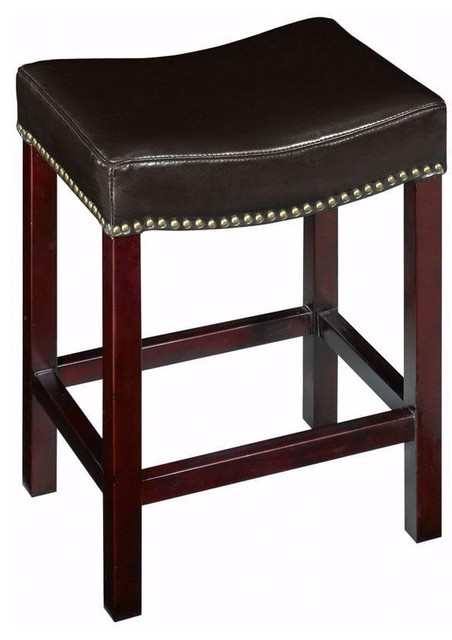 Curved Nailhead Counter Stool Traditional Bar Stools