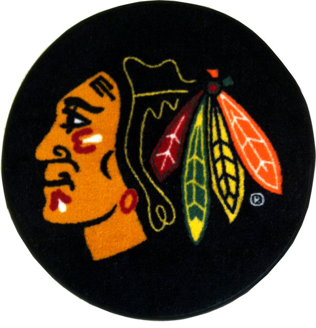 NHL Chicago Blackhawks Hockey Puck Shaped Accent Rug contemporary-rugs