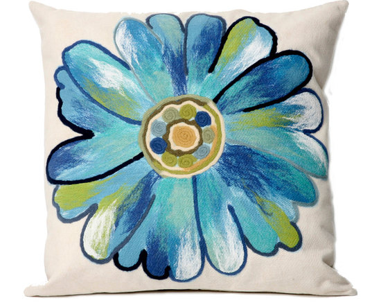 """Trans-Ocean Outdoor Pillows - Trans-Ocean Liora Manne Daisy Aqua - 20"""" x 20"""" - Designer Liora Manne's newest line of toss pillows are made using a unique, patented Lamontage process combining handmade artistry with high tech processing. The 100% polyester microfibers are intricately structured by hand and then mechanically interlocked by needle-punching to create non-woven textiles that resemble felt. The 100% polyester microfiber results in an extra-soft hand with unsurpassed durability."""