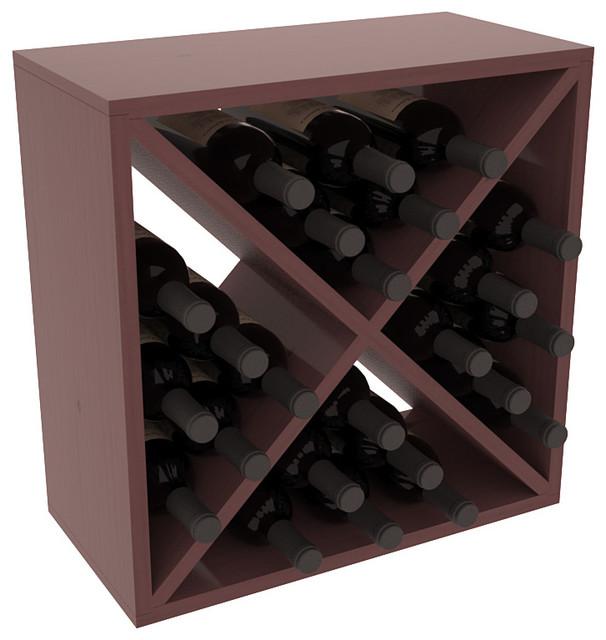24 Bottle Wine Storage Cube in Ponderosa Pine, Walnut Stain + Satin Finish contemporary-wine-racks