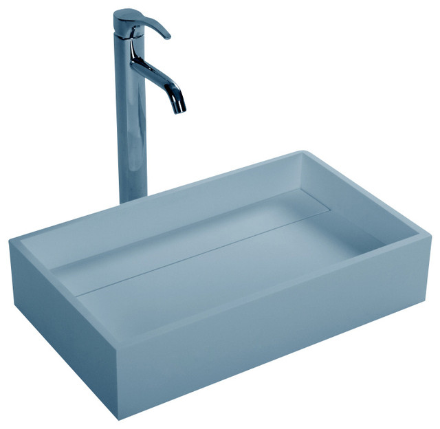 Stone Resin Sink : ... Matte White Countertop Stone Resin Sink contemporary-bathroom-sinks