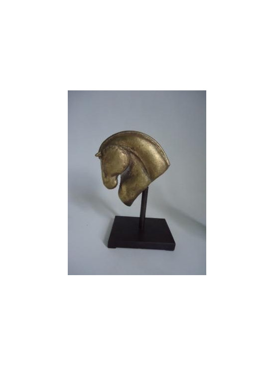 Cast Bronze Horse Head on Stand Detail -