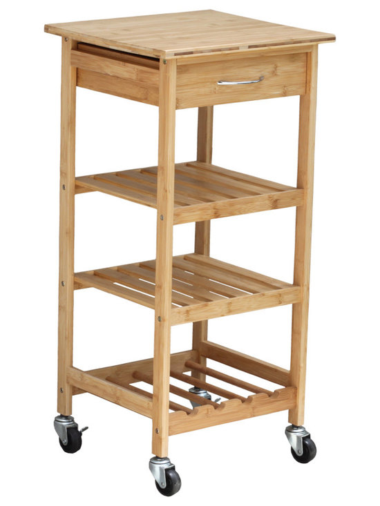 Oceanstar Bamboo Kitchen Trolley - Keep your daily kitchen essentials rolling along next to wherever you are with the Oceanstar Bamboo Kitchen Trolley. It provides both functionality and efficiency to your everyday kitchen tasks. The Bamboo cart is small enough for any kitchen and just big enough for extra storage room. It provides both functionality and simplifies your everyday kitchen tasks. The cart comes with a drawer to keep your utensils, three shelves to hold your kitchen gadgets or small items, the bottom shelf acts as also a wine storage rack as well. The Oceanstar Bamboo Kitchen Trolley is the perfect addition to any kitchen.