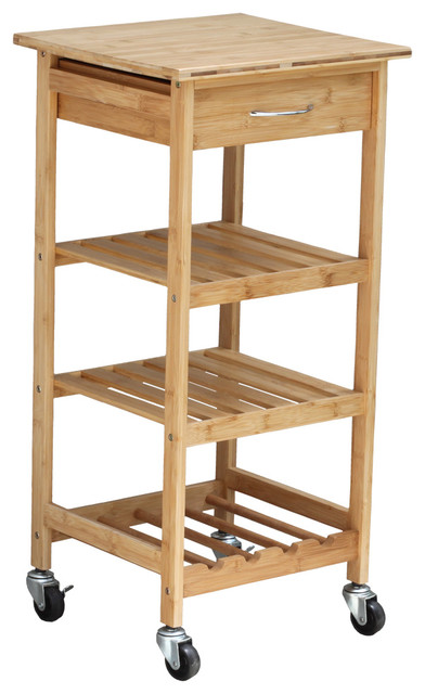 Oceanstar Bamboo Kitchen Trolley Contemporary Kitchen Islands And Kitchen Carts By