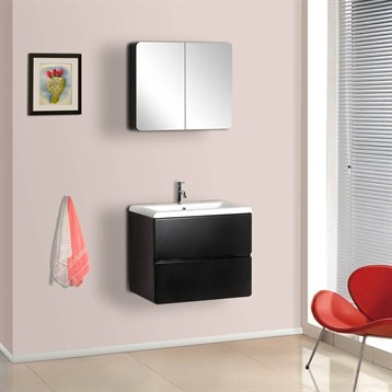 Bath Authority DreamLine Wall-Mounted Modern Bathroom Vanity with Porcelain Coun modern-bathroom-vanities-and-sink-consoles