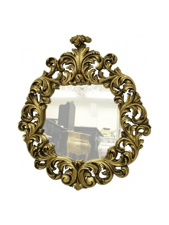 Chichi Furniture Exclusives. - A Beautiful Gold Leaf Mirror. Ornately decorated with scrolling leaves. An elaborate carved piece finished in Antique style Gold Leaf.