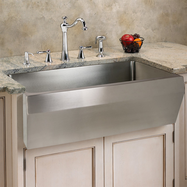 Optimum Stainless Steel Farmhouse Sink - Angled Front - Contemporary ...