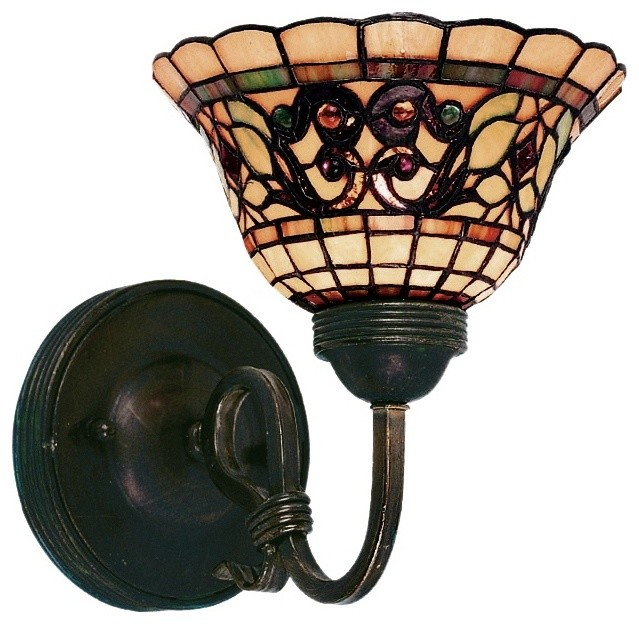 """Country - Cottage Tiffany Buckingham 9"""" High Wall Sconce traditional-wall-lighting"""