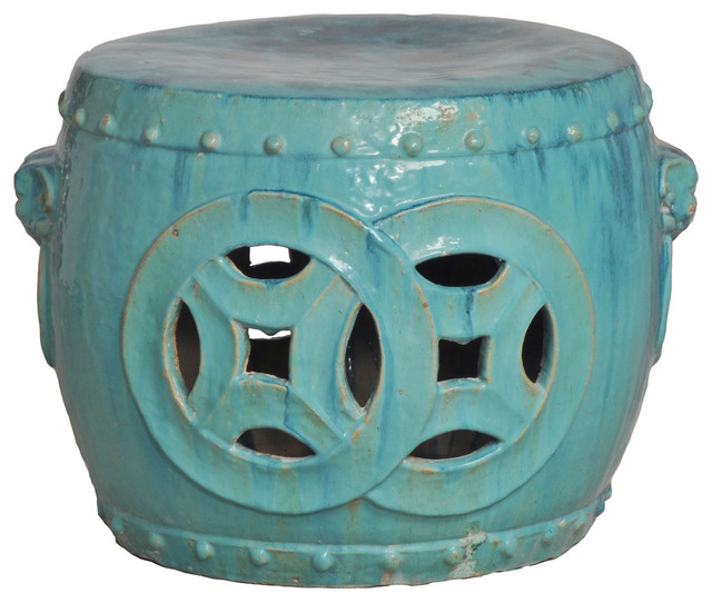 """Antique Green Glaze Double Fortune Rare 27""""D Garden Seat Drum transitional-outdoor-benches"""