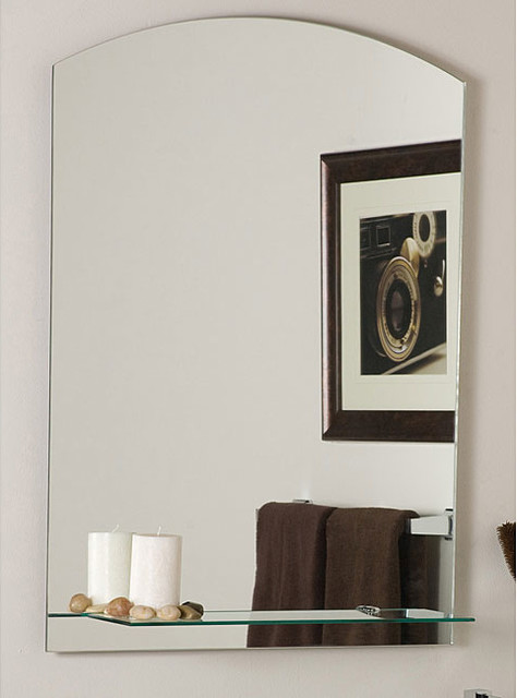 the arch frameless mirror with shelf contemporary bathroom mirrors